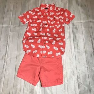Summer ready button down shirt and shorts